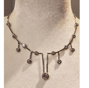 Silver tone Necklace with Rhinestones
